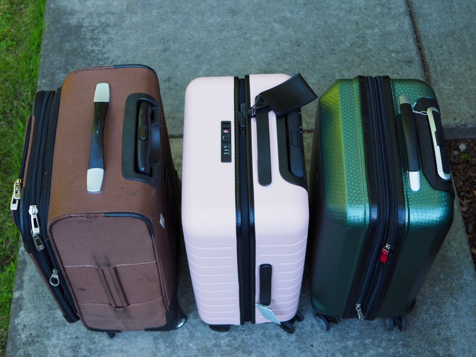 Samsonite, Away Bigger Carry-On, and Ricardo luggage sizes compared from above