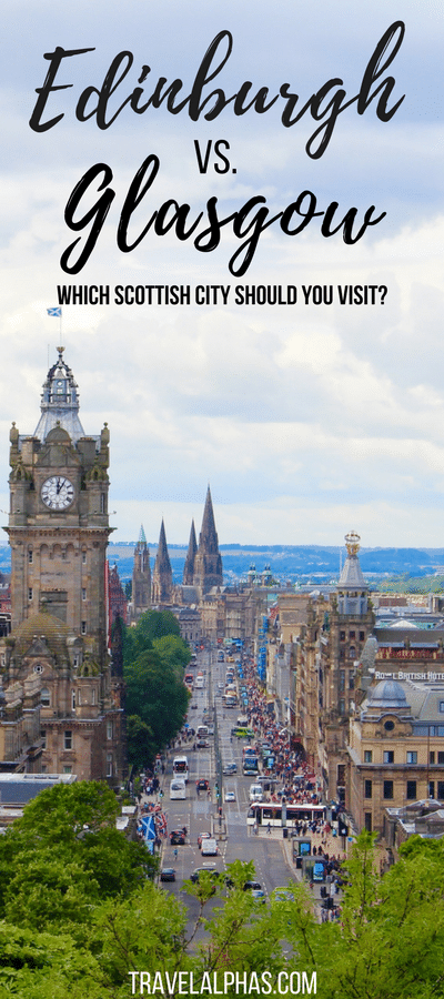 Well, it's time to confront one very controversial topic head on: Edinburgh versus Glasgow. Which Scottish city is better? And which city should you visit during your trip to Scotland? Though only 51 miles separate the two cities, they couldn't be more different. Each city has its own charm and allure, and to really get a feel for Scotland, you need to visit both cities. However, we understand that sometimes travel time doesn't allow for what's ideal. And sometimes you need to make a difficult choice. So we're going to break it down for you!