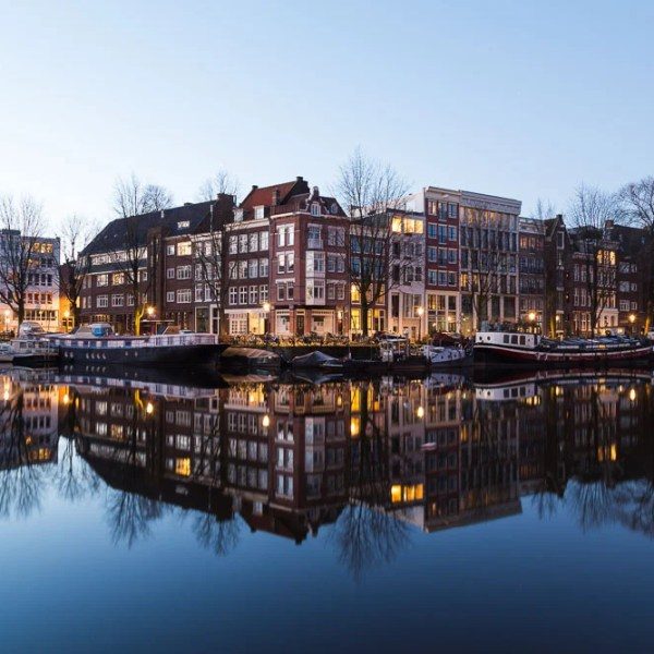 Photography reflections in canals, Amsterdam