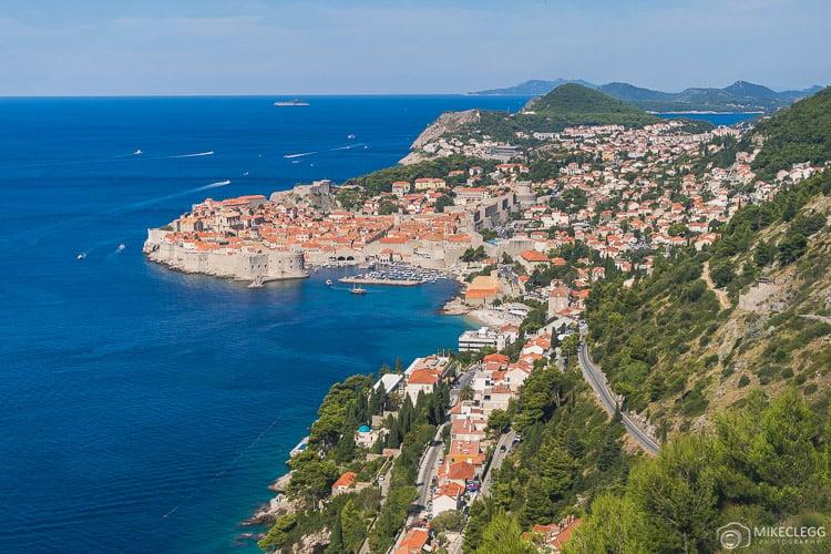 Vistas de Dubrovnik da estrada D8