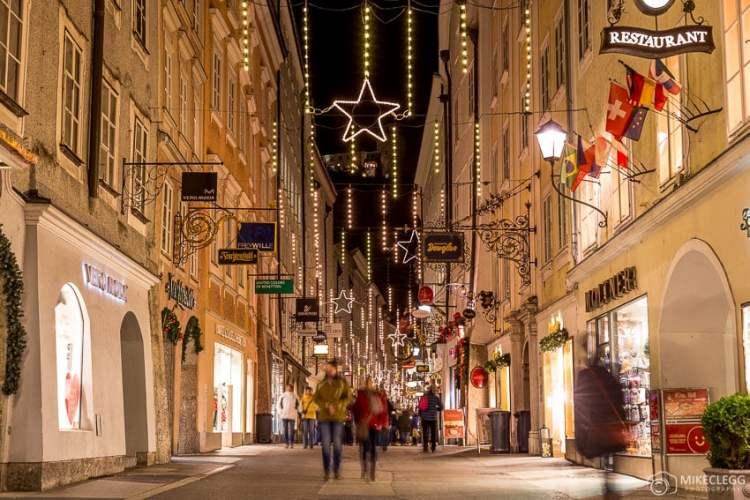 Getreidegasse no Natal, Salzburgo