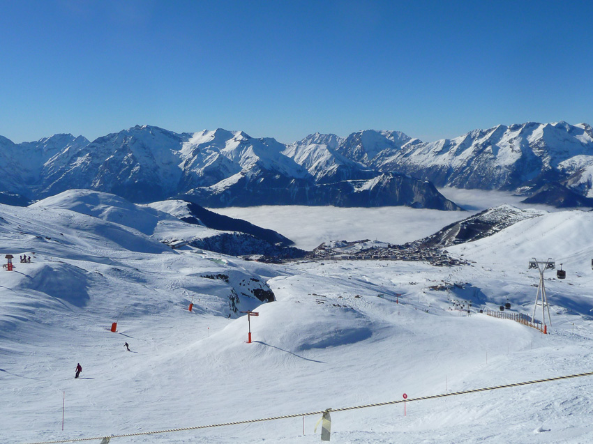 Estância de esqui Alpe d'Huez, inverno