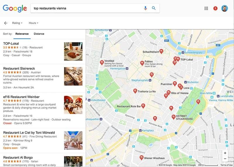 Encontrar restaurantes usando o Google Maps