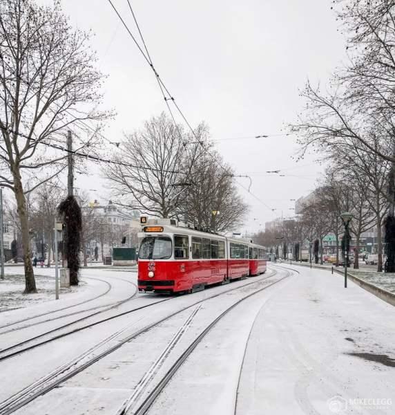 Bondes em Viena, inverno