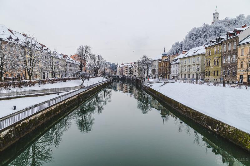 Rio Ljubljanica no inverno