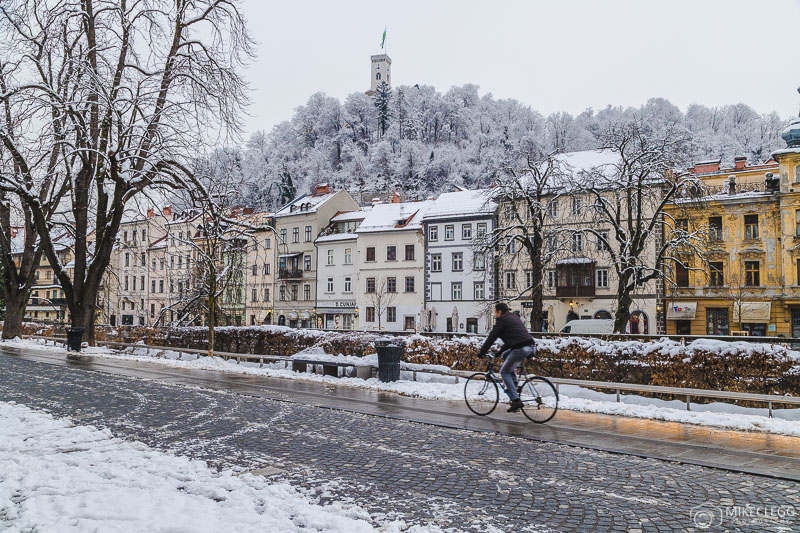 Ruas de Ljubljana no inverno