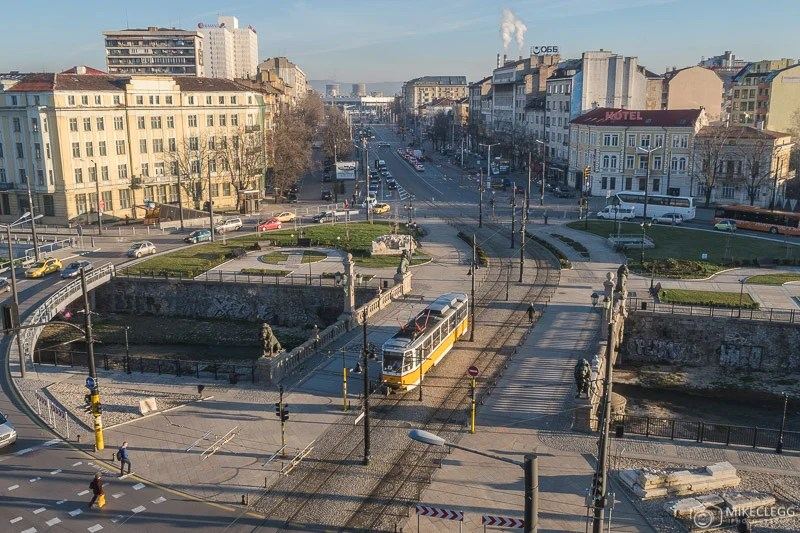 Vista para a Lion Bridge em Sofia a partir do Hotel Lion