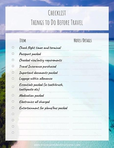 Captura de tela de exemplo da lista de verificação - O que fazer antes da viagem