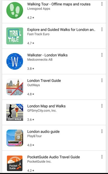 Captura de tela do aplicativo London Walking Tour
