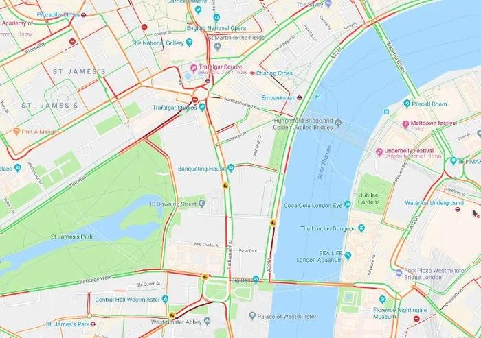 Trânsito em Londres - Fonte Google Maps