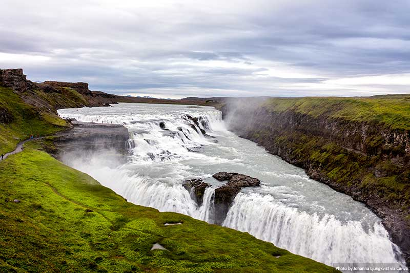 Cachoeira Gullfoss na Islândia