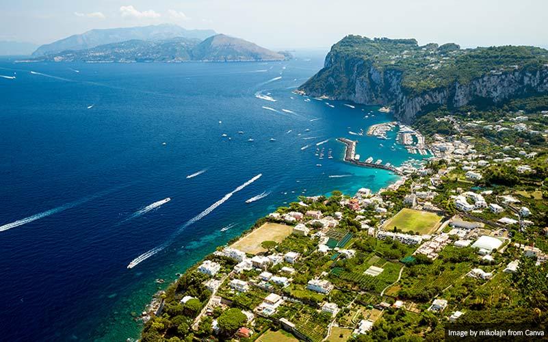 Vista panorâmica da ilha de Capri