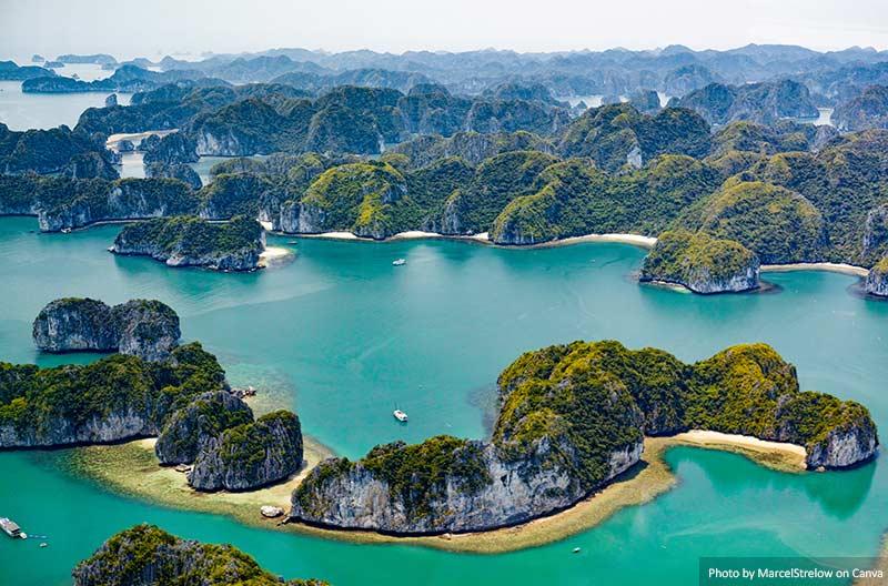Vista aérea da baía de Ha Long, Vietnã