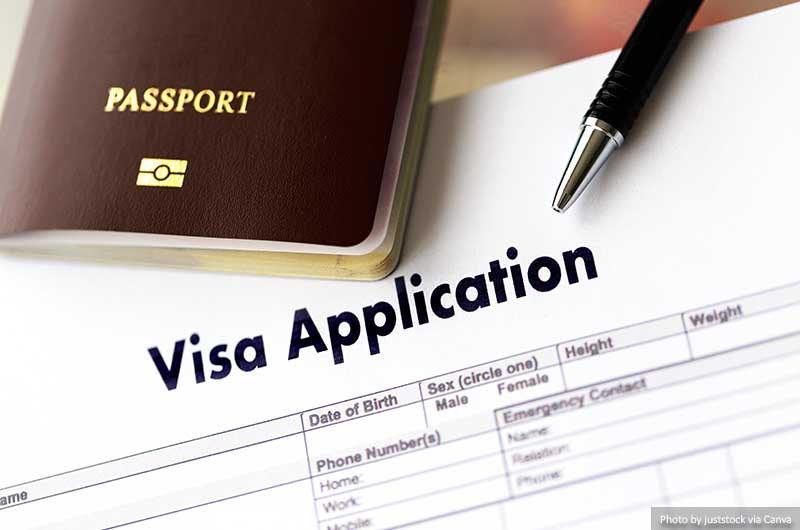 Preenchendo um formulário de pedido de visto