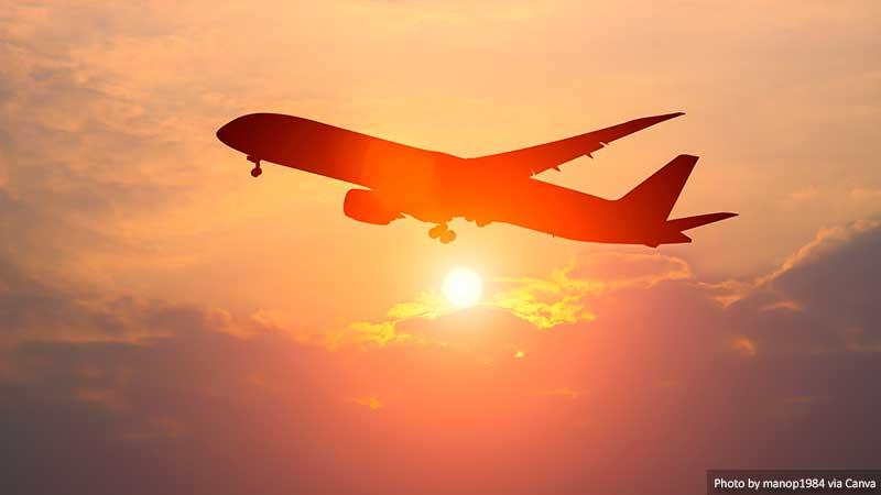 Voo de avião de passageiros