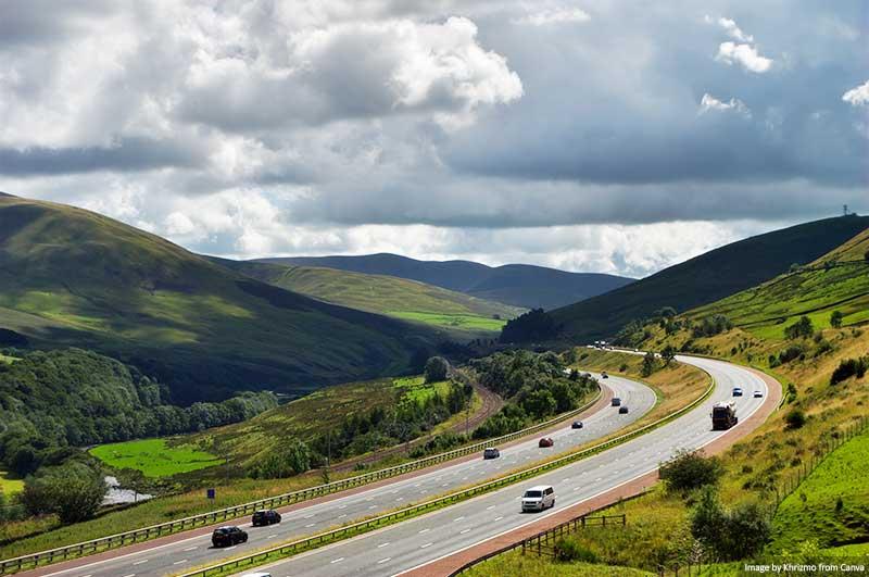 Autoestrada em Cumbria, Inglaterra
