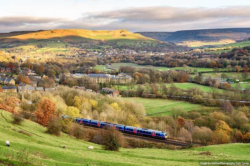 Trens na Inglaterra com o campo