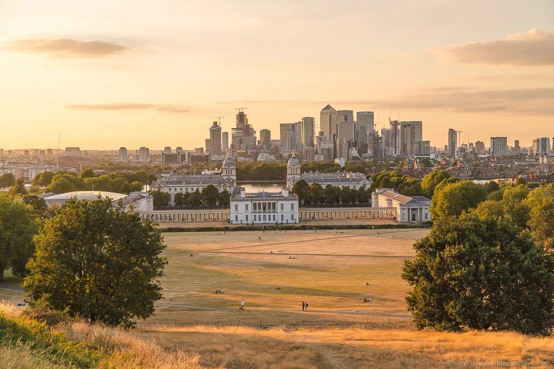Vistas do Greenwich Park ao pôr do sol