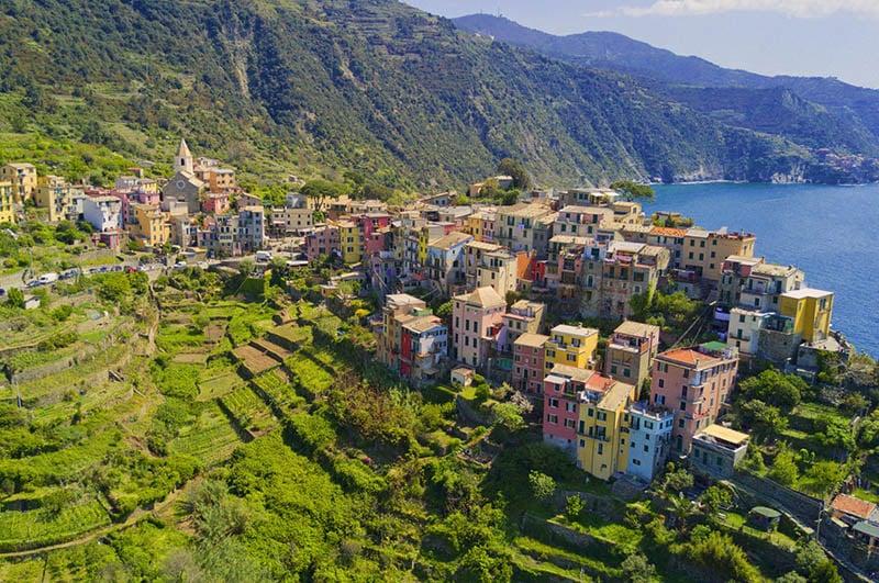 Vistas aéreas de Corniglia