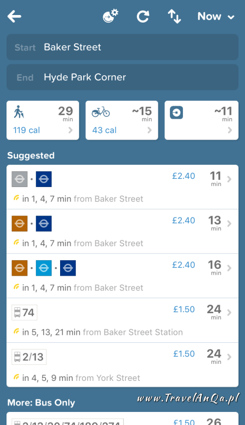 Aplikacje dla podróżników - CityMapper - plan podróży
