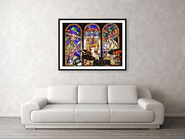 Hard Rock Cafe Cancun stained glass window framed art print
