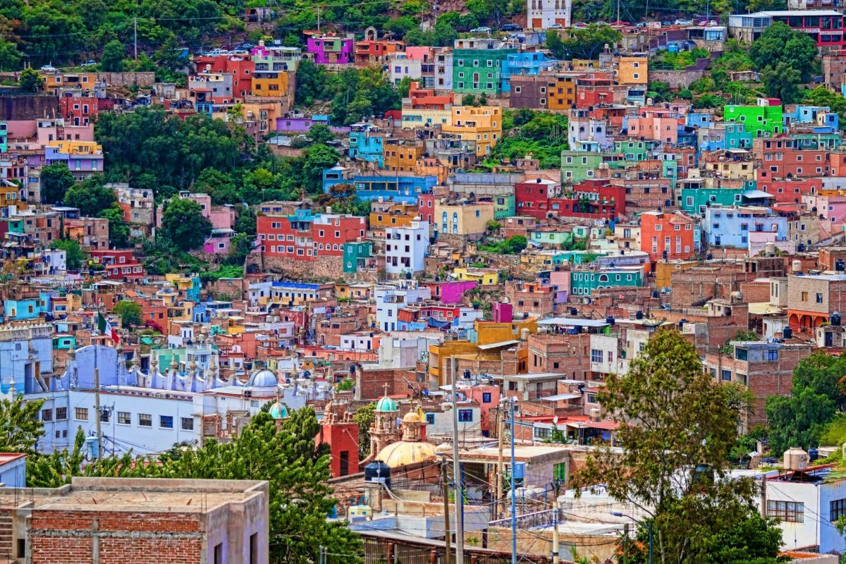 Colorful hilltop buildings in Guanajuato, Mexico
