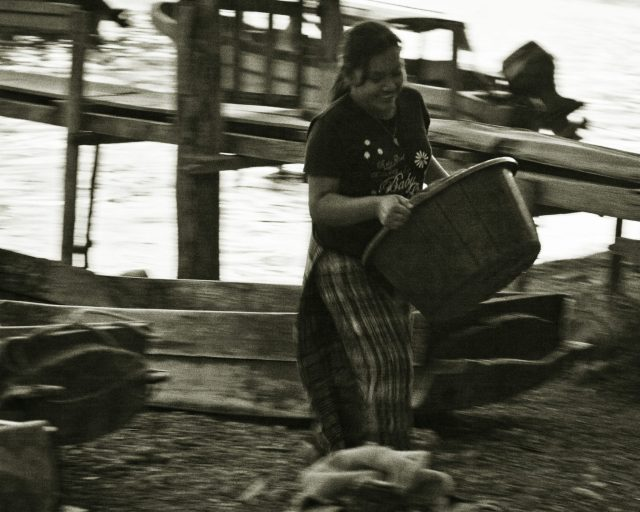 Laundry day by the Atitlan lakeside, in Panajachel, Guatemala