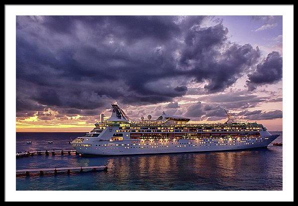 Cruise ship arriving in Cozumel at night