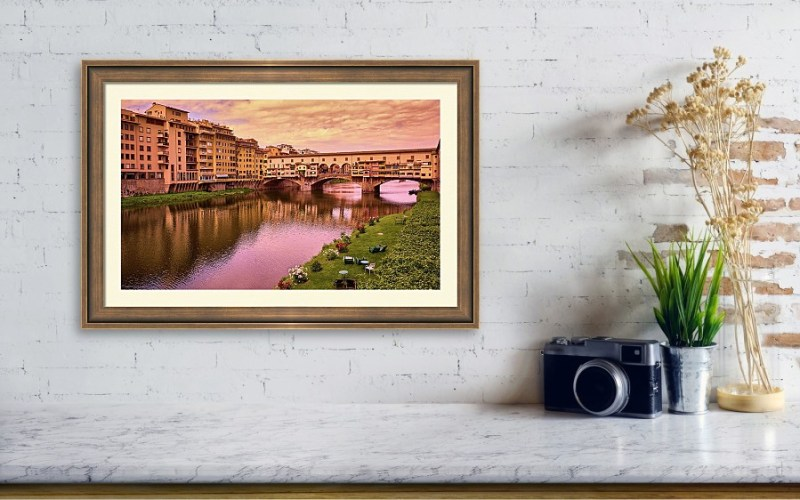 Framed print of Ponte Vecchio with warm colors in Florence, Italy, by Eduardo José Accorinti