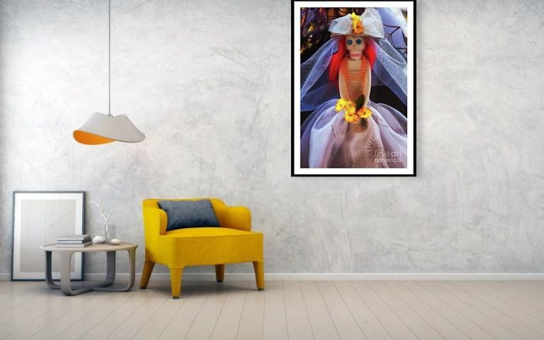 Catrina spooky bride framed art print