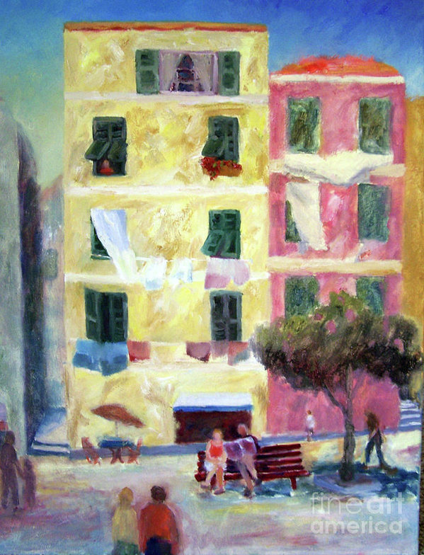 Italian Piazza with Laundry by Carolyn Jarvis