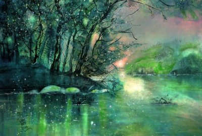River Rhine at Twilight - Watercolor Paintings by Sabina von Arx