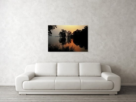 This is how Sunrise on Reelfoot Lake would look over a sofa
