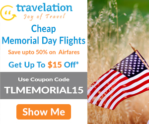 Memorial Day flight deals. Book now & get up to $15 off with coupon code - TLMEMORIAL15.
