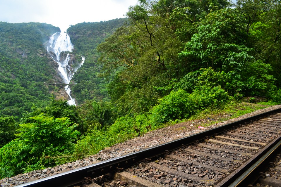 Dudhsagar falls from the railway tracks