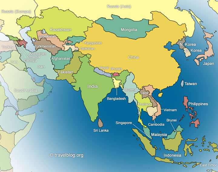 political map of asian countries