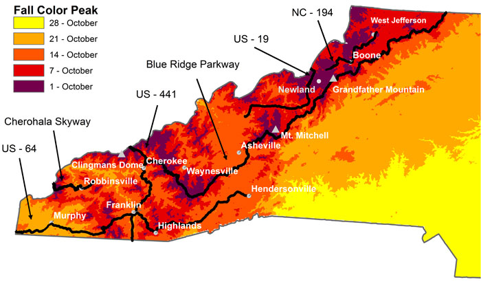 NC Fall Foliage Peak Colors Map (Conceived by Howard Neufeld and Michael Denslow Map Constructed by Michael Denslow)
