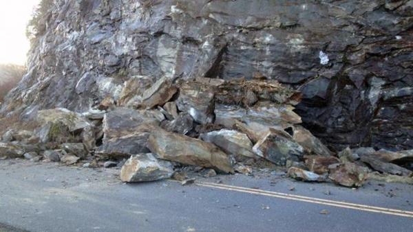 Blue Ridge Parkway Rockslide 3/4/17 Near Craggy Gardens