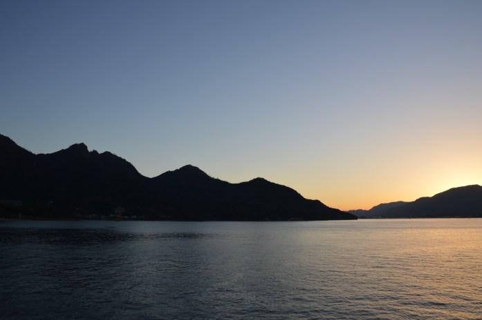 Sunset from Miyajima ferry, Japan