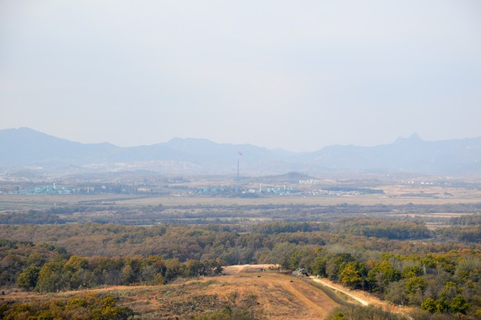 View of Kijŏngdong and North Korean flagpole from Dora Observatory, DMZ