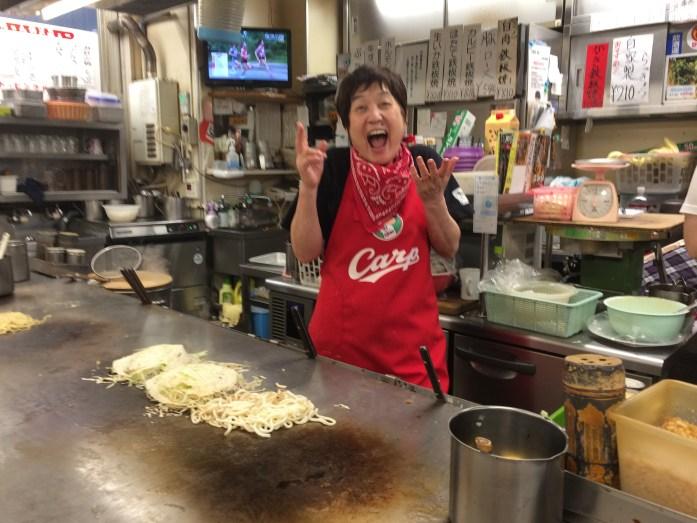 Carp-loving Okinomiyaki chef, Hiroshima, Japan
