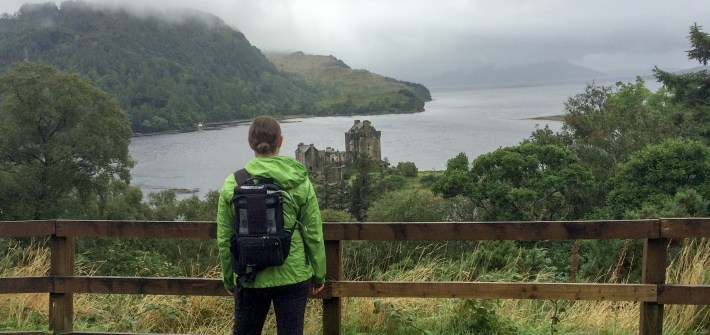 Admiring the view of Eilean Donan Castle in Dornie, Scotland