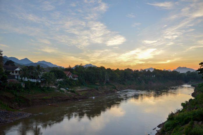 Sunset over the Nam Khan, Luang Prabang, Laos