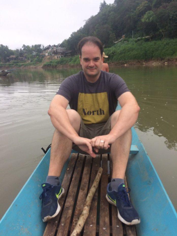 Riding a very small, very tippy boat across the Nam Khan River, Luang Prabang, Laos