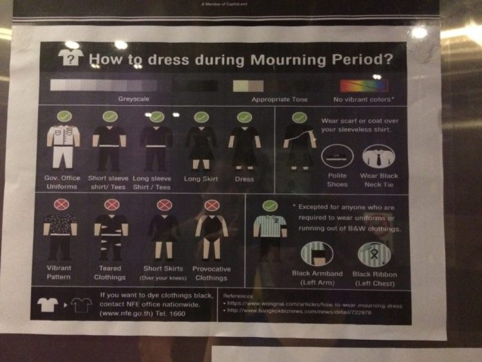 How to dress during the Mourning Period in Bangkok, Thailand