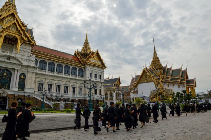 Mourners at the Grand Palace in Bangkok, Thailand
