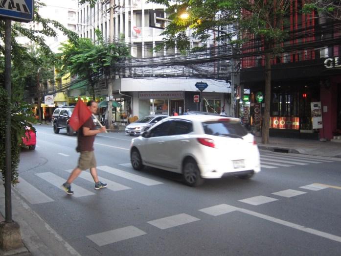 Crossing the street in Bangkok, Thailand