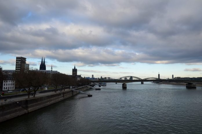 View of Köln from the Chocolate Museum/Harbour Christmas Market, Germany