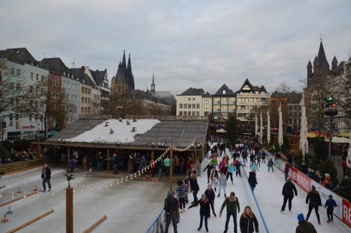 Skating rink at Heumarkt in Köln, Germany