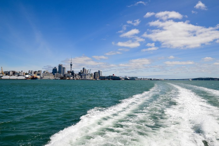 View of Auckland from the ferry to Waiheke Island, New Zealand
